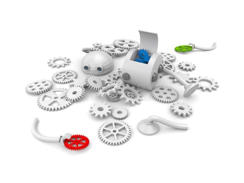 Демонтированный робот с деталями своего механизма иллюстрация штока