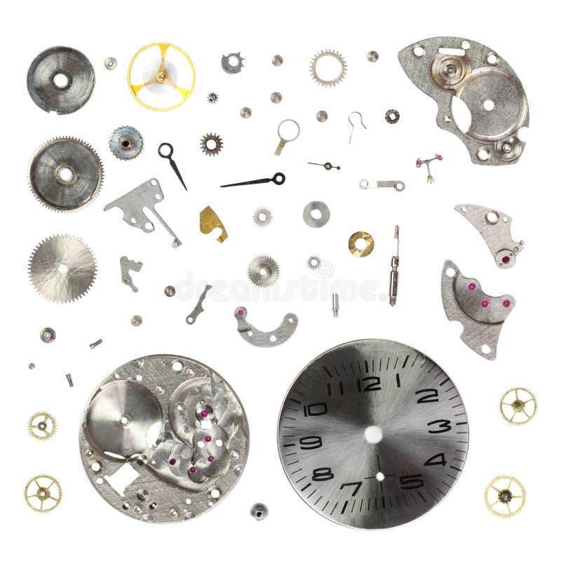 Демонтируйте старые механически наручные часы изолированные на белой предпосылке стоковые изображения rf