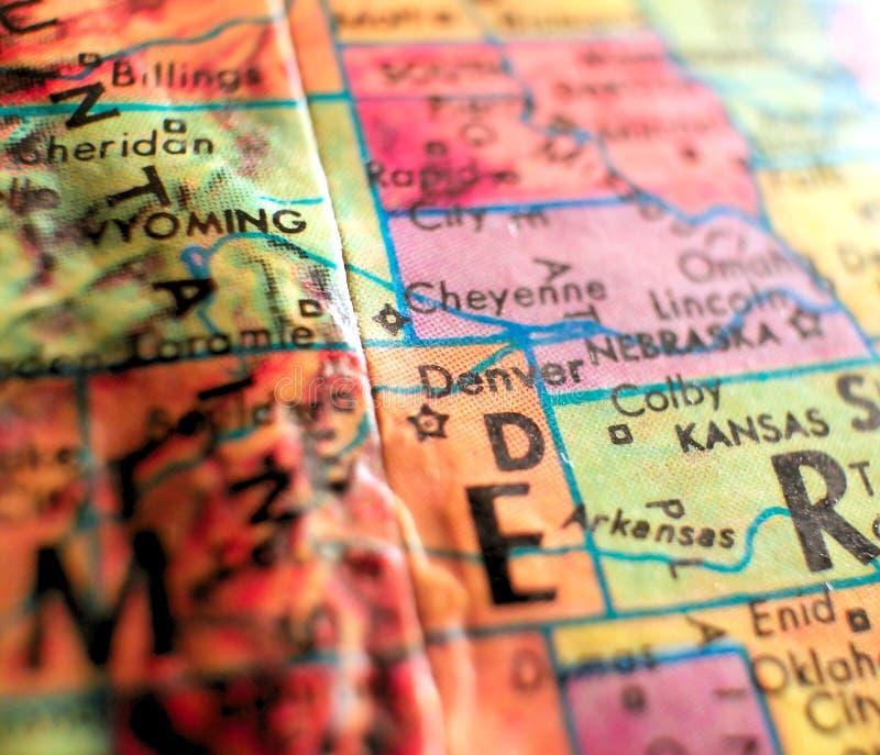 Денвер Колорадо, съемка макроса фокуса США на карте глобуса для блогов перемещения, социальных средств массовой информации, знаме стоковые фото