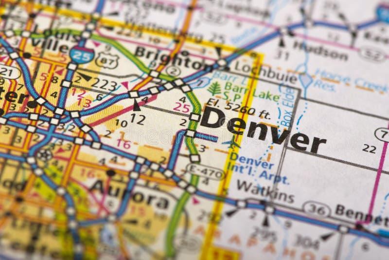 Денвер, Колорадо на карте стоковое фото rf