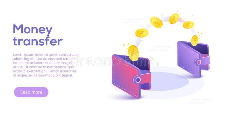 Денежный перевод от и к бумажника в равновеликом дизайне вектора Ca бесплатная иллюстрация