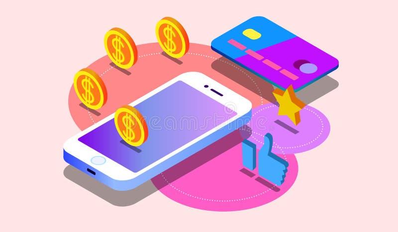 Денежный перевод через мобильный телефон в равновеликом дизайне вектора Оплата цифров или онлайн обслуживание cashback Мобильный  иллюстрация штока
