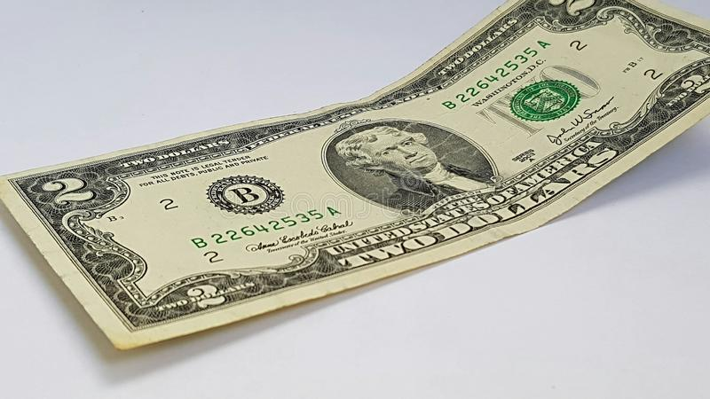 Деноминация 2 доллара стоковое фото rf