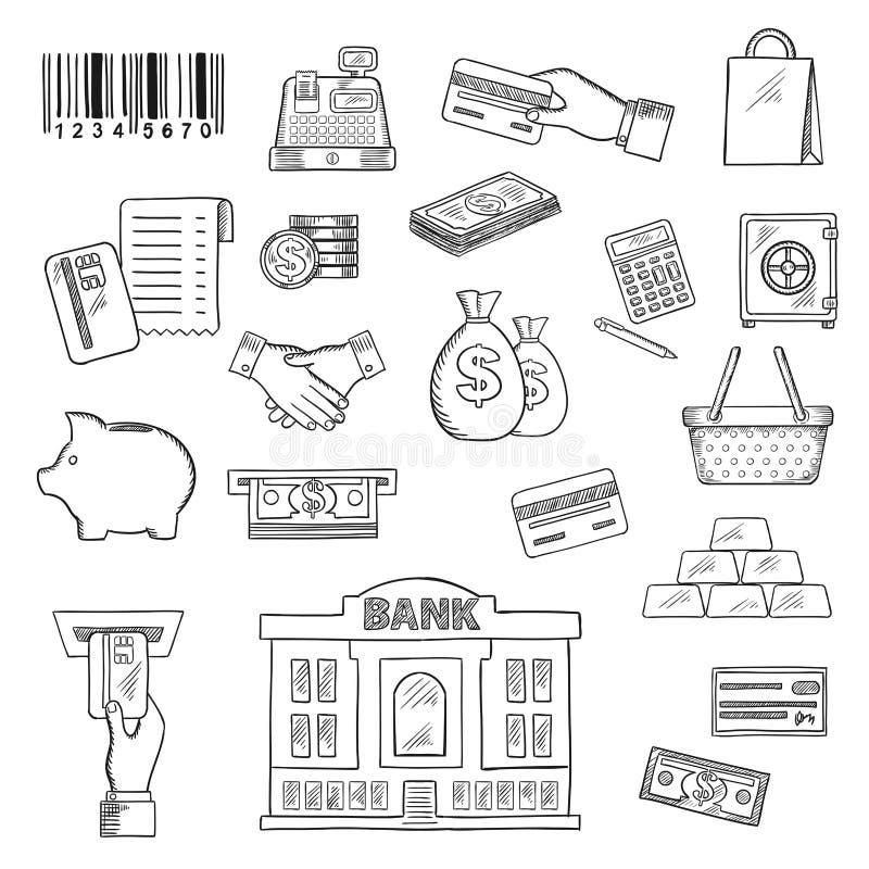 Деньги, банковские обслуживания, ходя по магазинам символы эскиза иллюстрация вектора