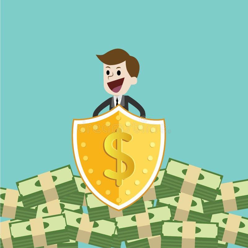 Деньги бизнесмена защищая с экраном и шпагой защитите деньги от налога и задолженности со шпагой и экраном иллюстрация штока