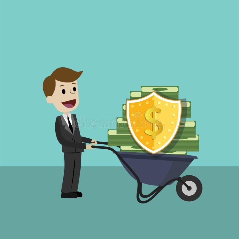Деньги бизнесмена защищая с экраном и шпагой защитите деньги от налога и задолженности со шпагой и экраном иллюстрация вектора