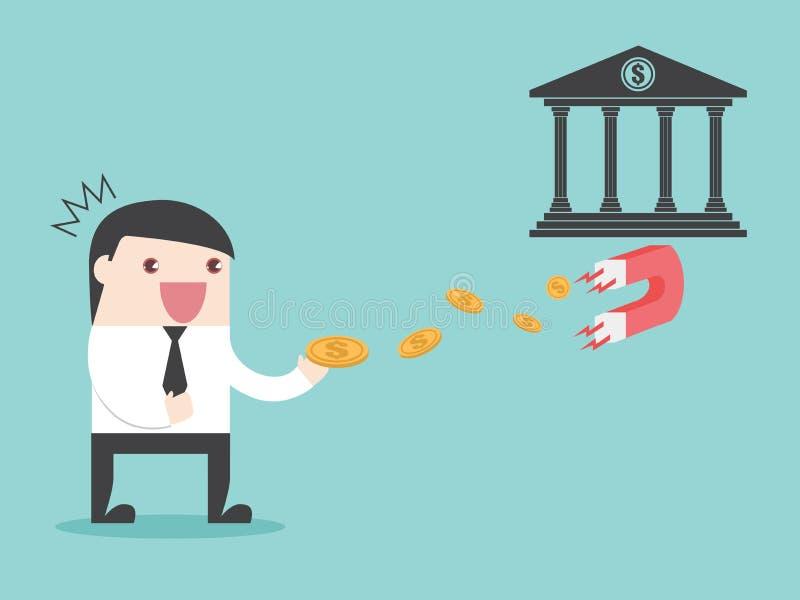 Деньги бизнесмена магнита банка бесплатная иллюстрация