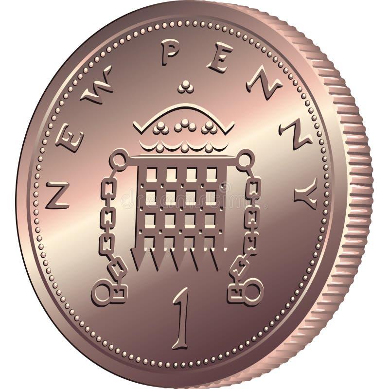 Деньги вектора великобританские, чеканят одно пишут иллюстрация вектора