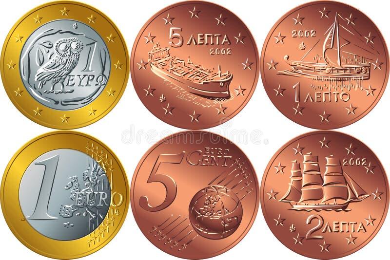Деньги вектора установленные греческие иллюстрация вектора