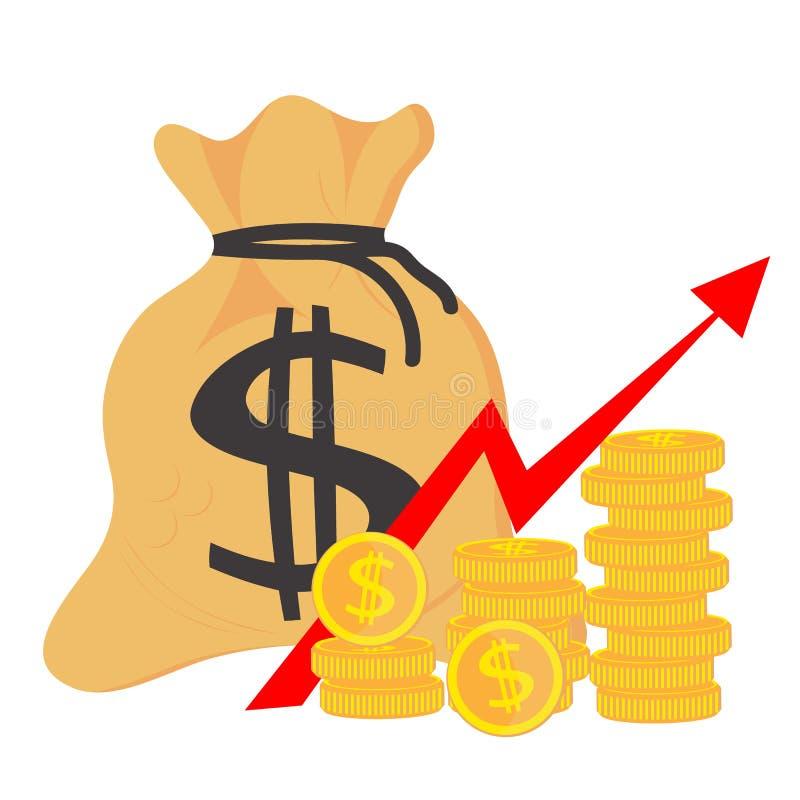 Деньги выгоды Концепция роста успеха в бизнесе, экономических или рынка Сумка денег, доход, запас Мешок значка плоско простой Век иллюстрация штока
