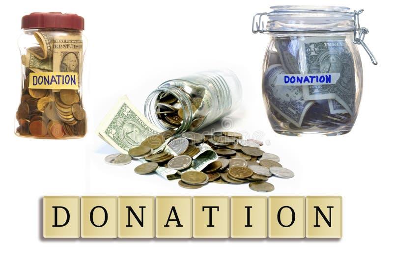Деньги в закрытом пожертвовании опарников стекла. стоковые изображения rf
