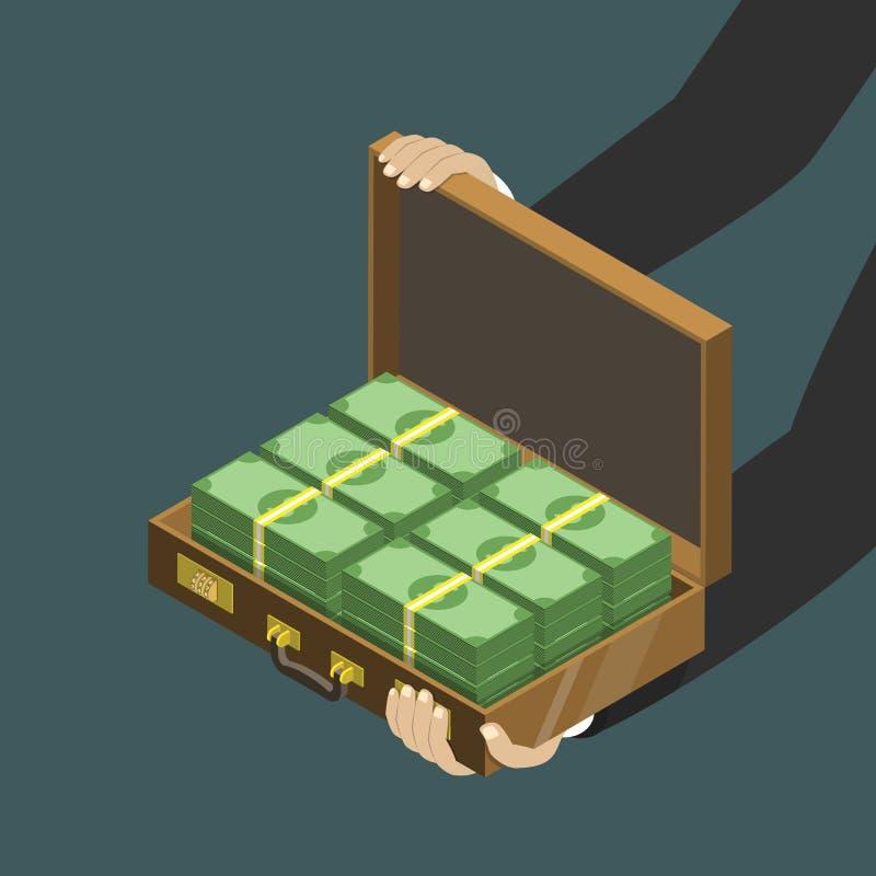 Деньги в концепции вектора чемодана плоско равновеликой низкой поли иллюстрация вектора