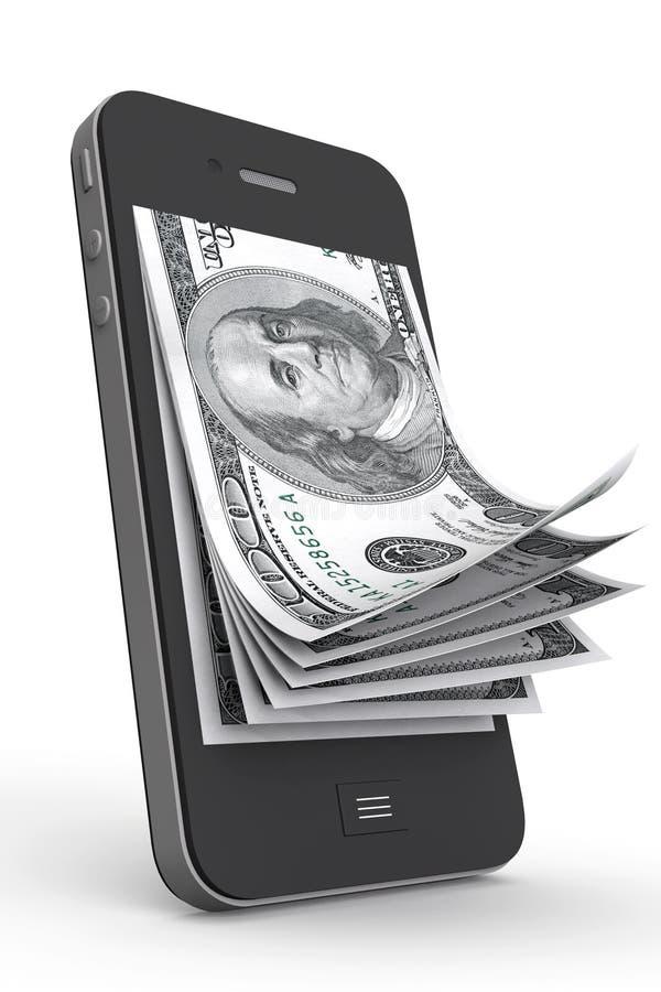 Деньги в мобильном телефоне иллюстрация штока