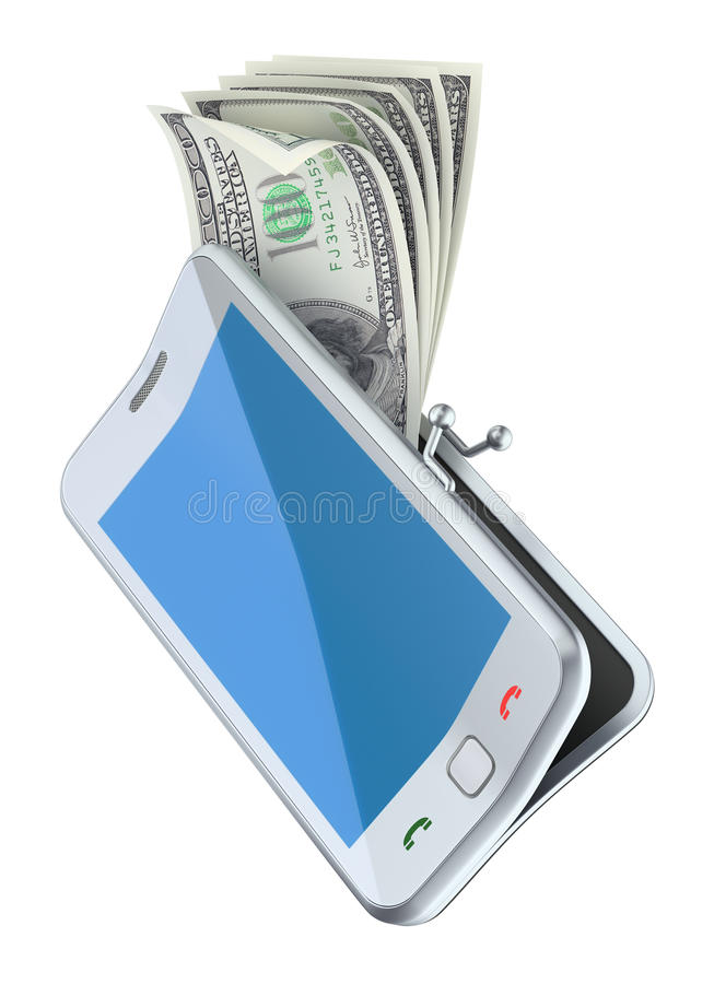 Деньги в портмоне smarphone иллюстрация вектора