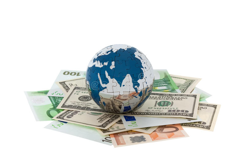 деньги глобуса стоковое изображение