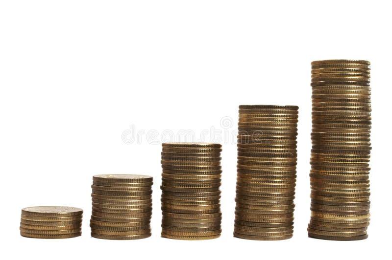 Download деньги диаграммы над поднимающей вверх белизной Стоковое Изображение - изображение насчитывающей монетка, подъем: 491571