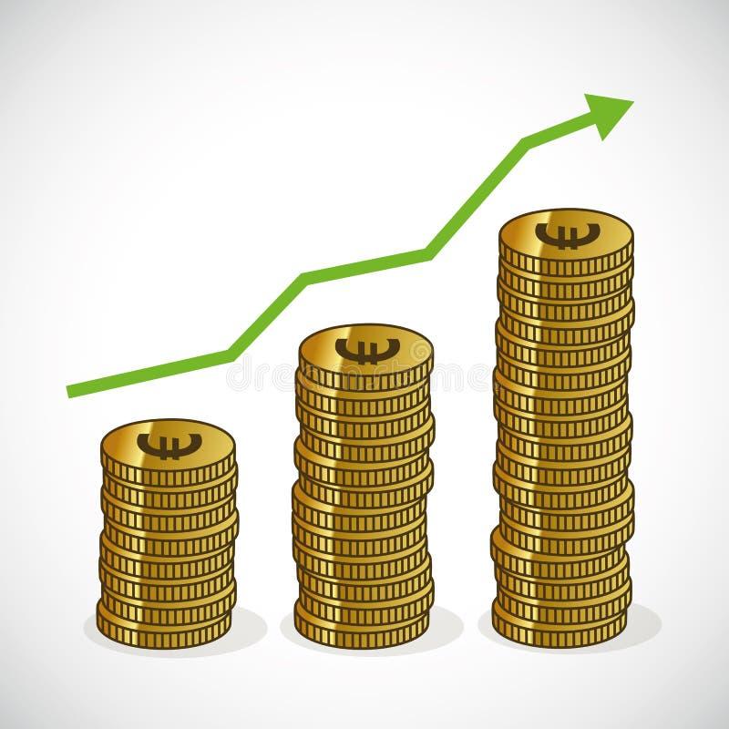 Деньги диаграммы роста дохода увеличивая отклоняя значок иллюстрация штока