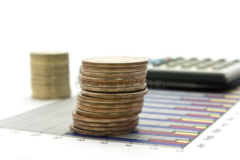 деньги диаграммы чалькулятора стоковое фото rf