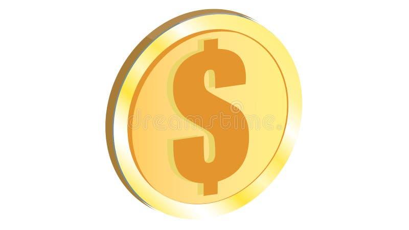 Деньги доллара золотой красивой сияющей монетки желтого цвета утюга металла оранжевой объемные реалистические круглые иллюстрация штока