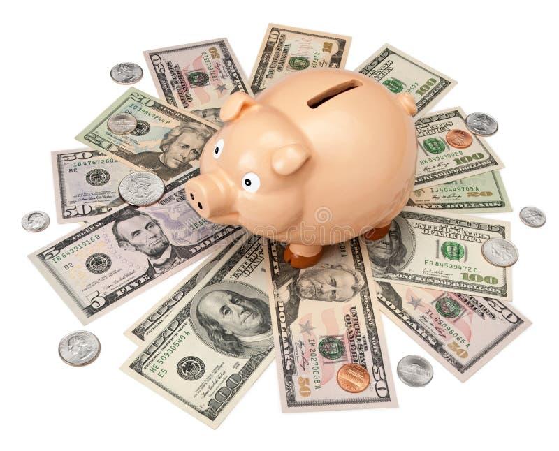 деньги долларов банка piggy стоковое фото rf