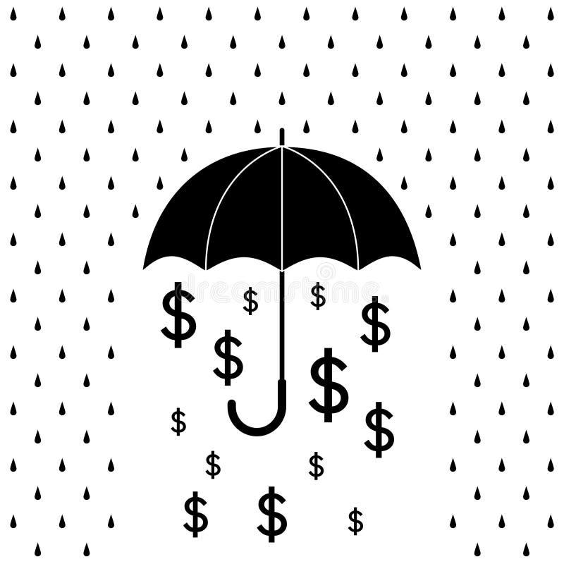 Деньги долларов черно-белого зонтика защищая от дождя падают, вектор бесплатная иллюстрация