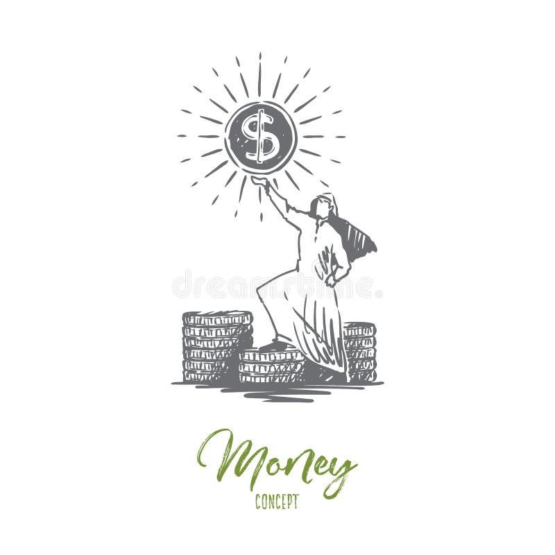 Деньги, доллары, богатство, успех, мусульманская концепция Вектор нарисованный рукой изолированный бесплатная иллюстрация
