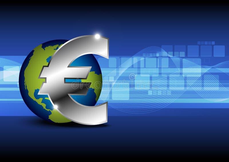 Деньги евро иконы с глобусом иллюстрация штока