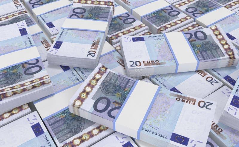 деньги евро 20 предпосылка наличных денег евро Банкноты денег евро иллюстрация штока