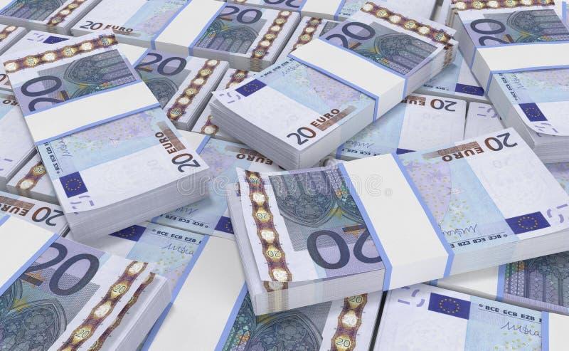 деньги евро 20 предпосылка наличных денег евро Банкноты денег евро иллюстрация вектора