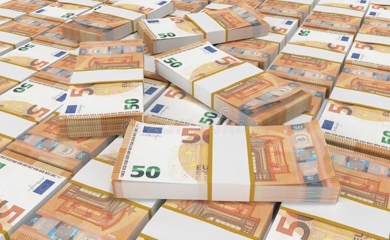 Деньги евро 50 предпосылка наличных денег евро Банкноты денег евро иллюстрация штока