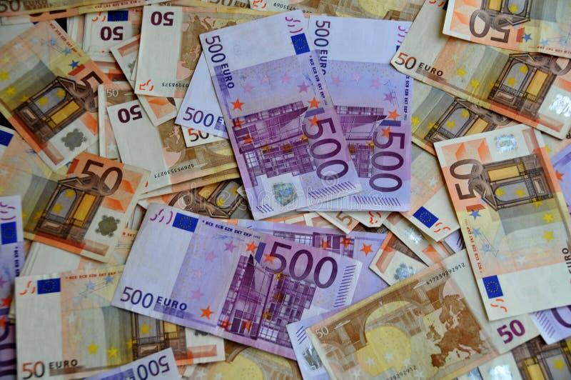 Деньги евро 5 сотен и 50 стоковые фотографии rf