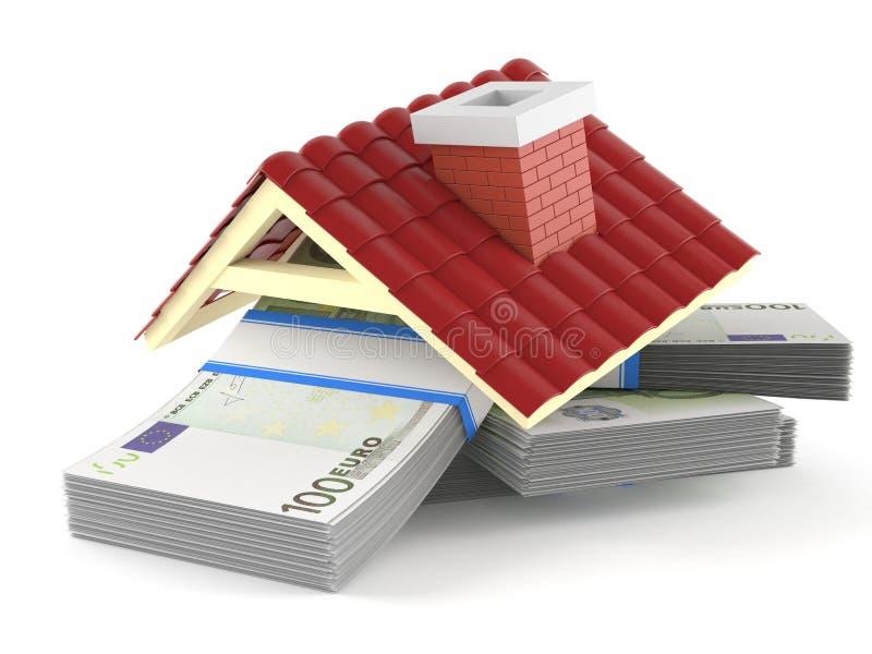 Деньги евро с крышей иллюстрация вектора
