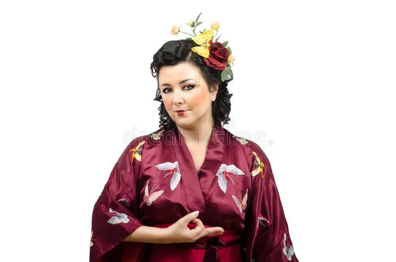 Download Деньги жеста показа женщины кимоно Стоковое Изображение - изображение насчитывающей деньги, китайско: 41658657