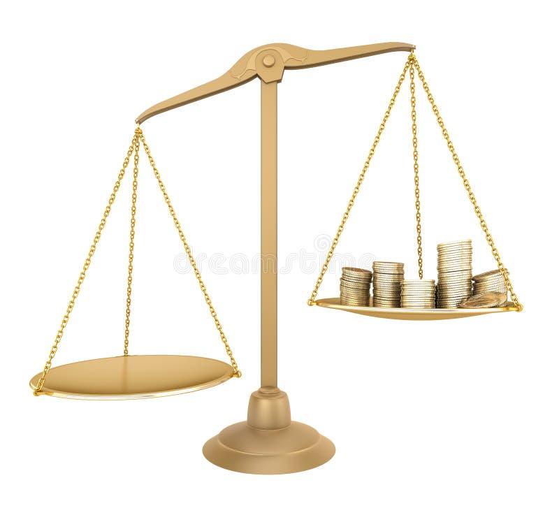 деньги золота баланса больше что-то чем иллюстрация вектора