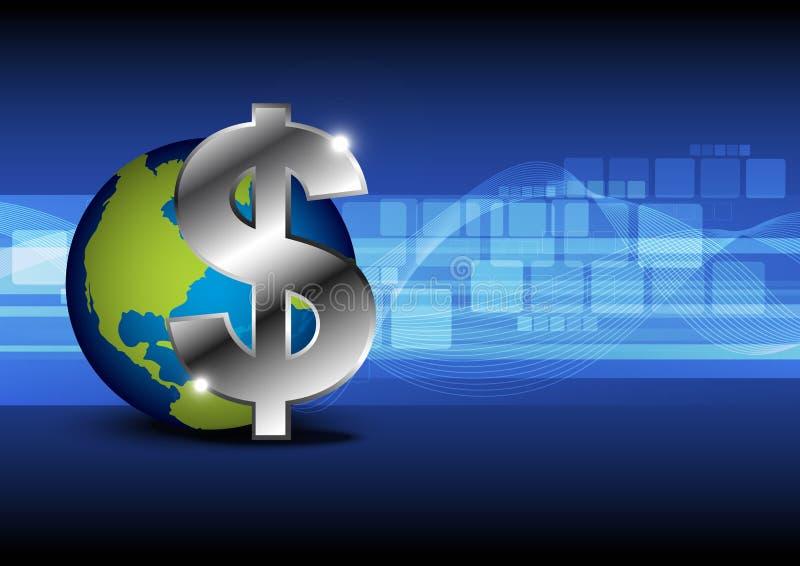 Деньги иконы с глобусом иллюстрация вектора