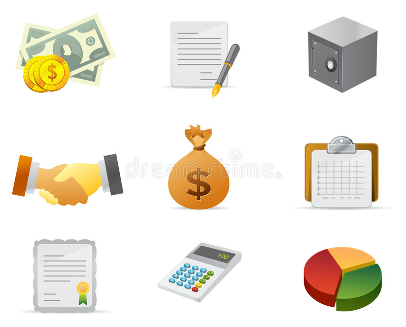 деньги иконы 2 финансов иллюстрация вектора