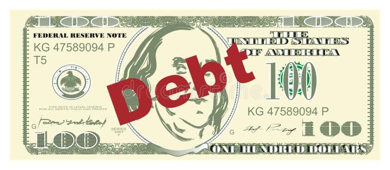 Деньги и задолженность иллюстрация штока