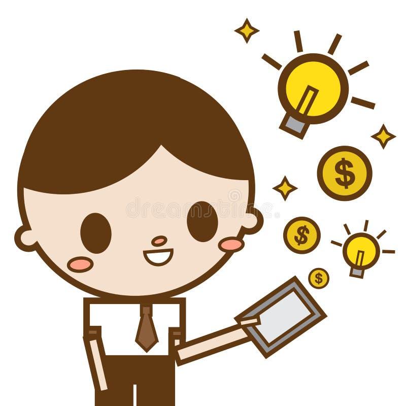 Деньги и идея таблетки пользы бизнесмена компьютерные появляясь от экрана стоковая фотография rf