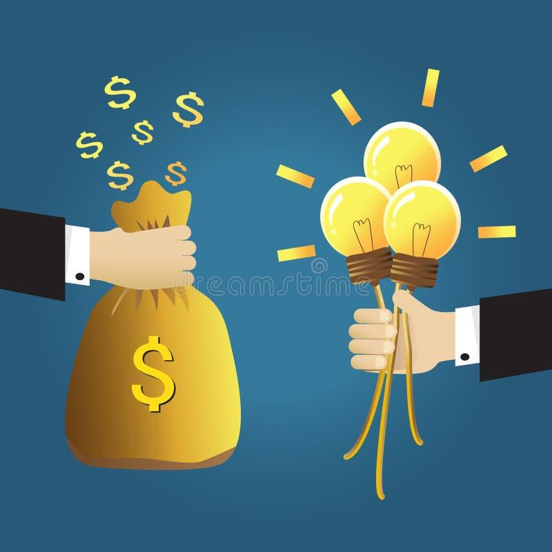 Деньги и идея иллюстрация штока