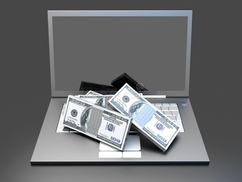 Деньги и компьтер-книжка иллюстрация штока