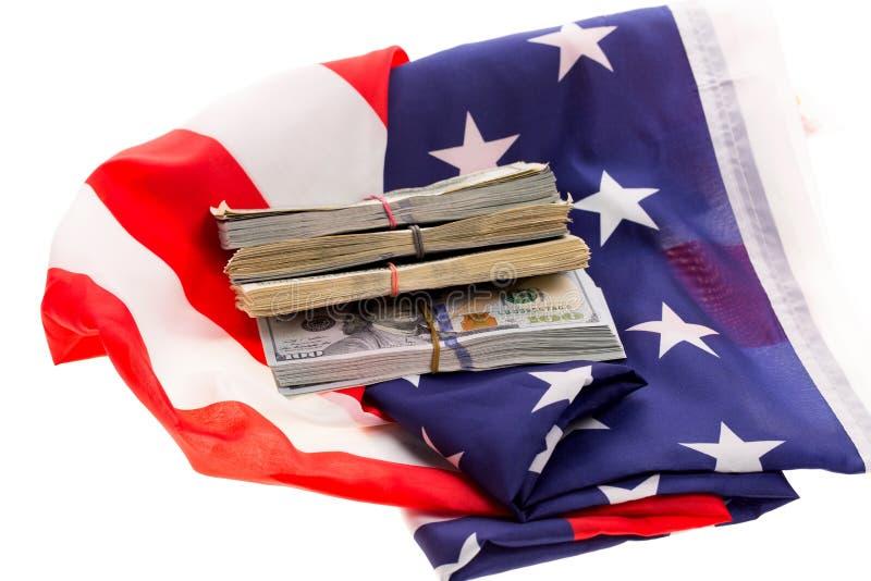Деньги и флаг стоковые фотографии rf