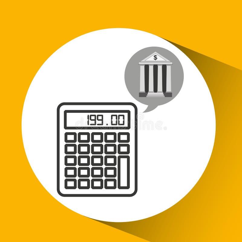 Деньги калькулятора экономики банка здания иллюстрация штока