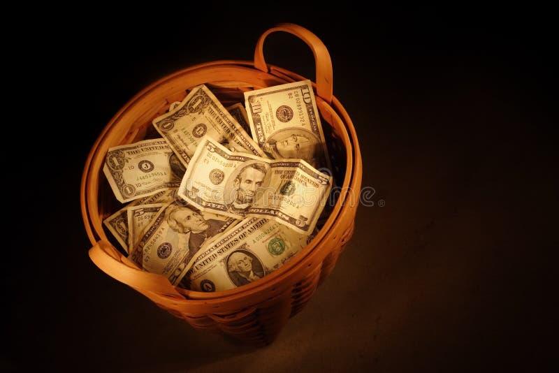 деньги корзины Стоковая Фотография RF