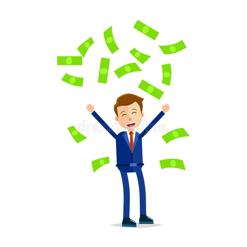 Деньги менеджера бросая над головой и кричащий иллюстрация штока
