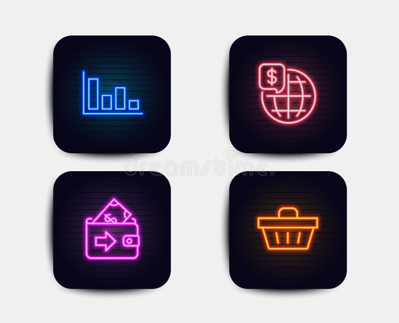 Деньги мира, значки гистограммы и бумажника Знак корзины для товаров Мировые рынки, тенденция экономического развития, оплата ден иллюстрация вектора