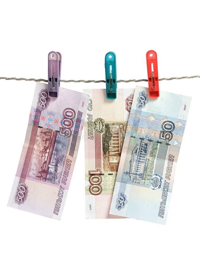 деньги над русской белизной стоковые фотографии rf