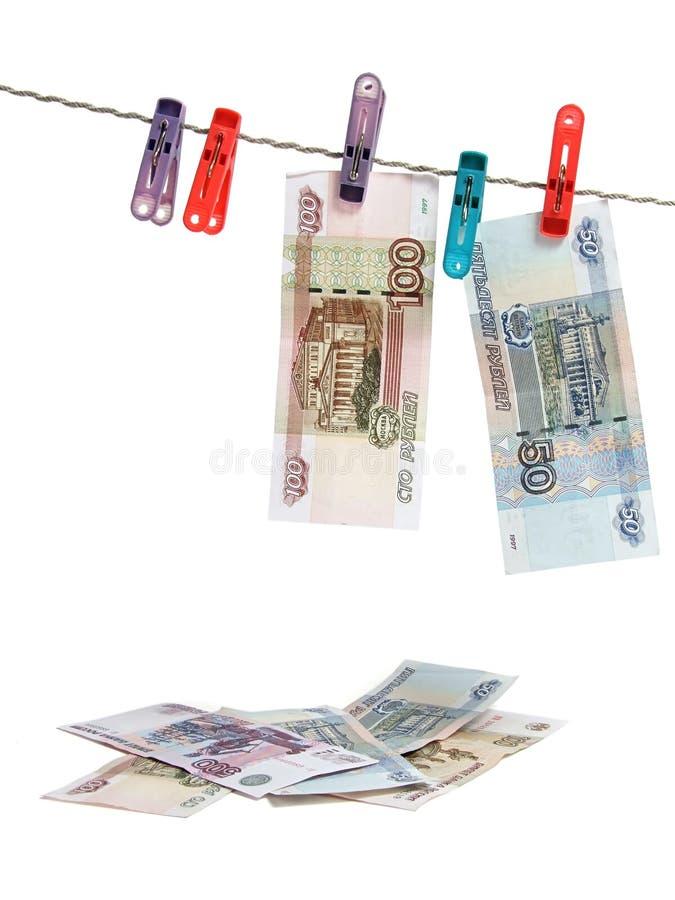 деньги над русской белизной стоковое изображение