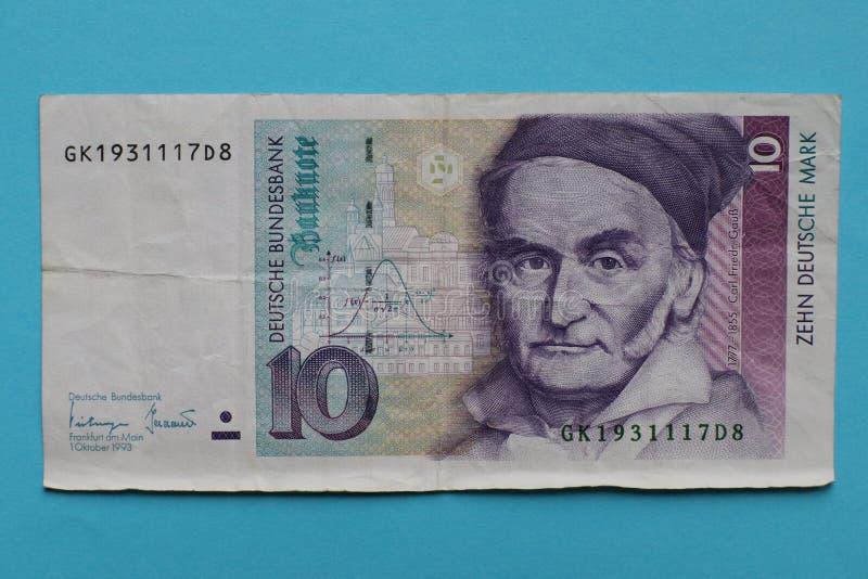 Деньги 10 немецкой марки Германии старые стоковые изображения