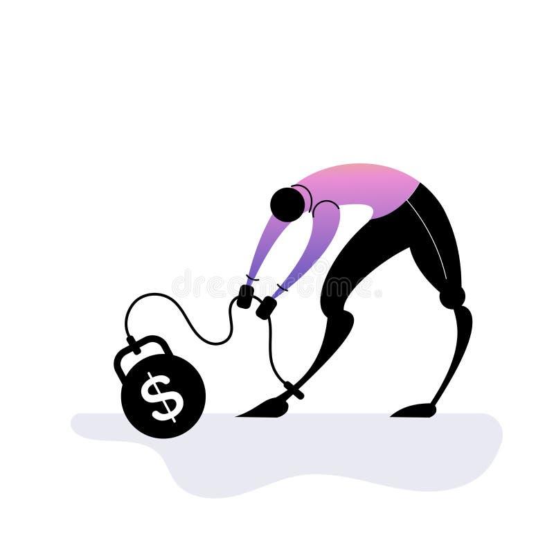 Деньги нуждаются в проблемах финансового характера Депрессованный персонаж бизнесмена Экономический кризис Запуск, не оплачен Дав иллюстрация вектора