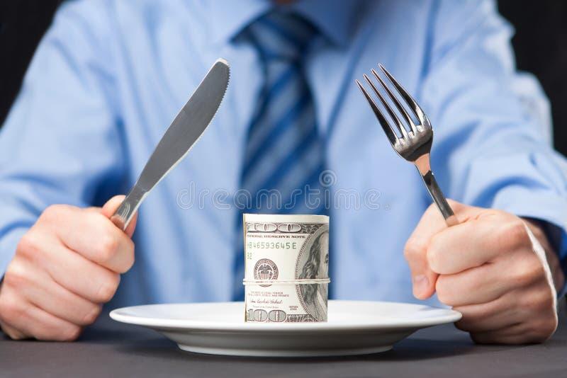 деньги обеда стоковые изображения rf